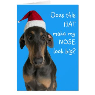 Funny dog with Santa Hat Christmas card