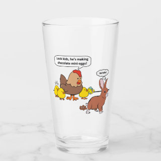 Funny Easter Bunny Chocolate Eggs Glass