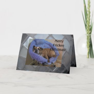Funny English Bulldog Christmas Cards! Holiday Card