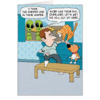 Funny Evil Cat Birthday Card