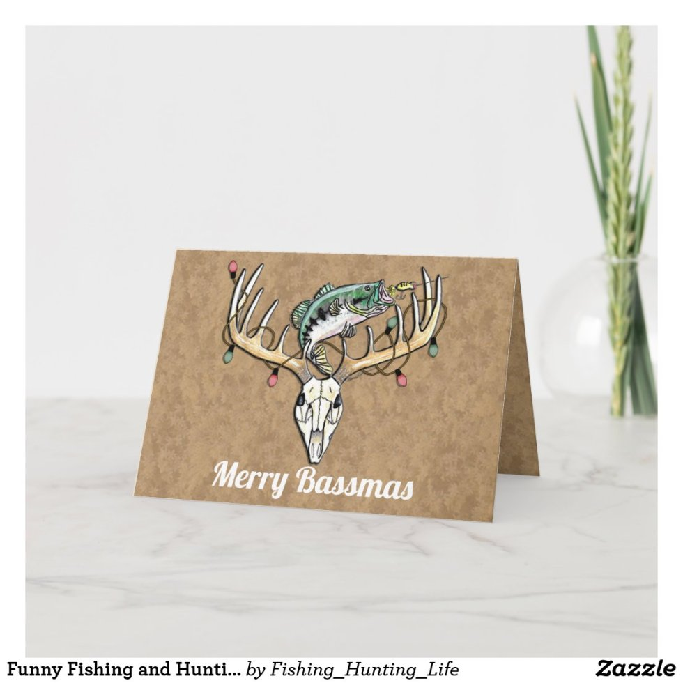 Funny Fishing and Hunting Christmas Greeting Card