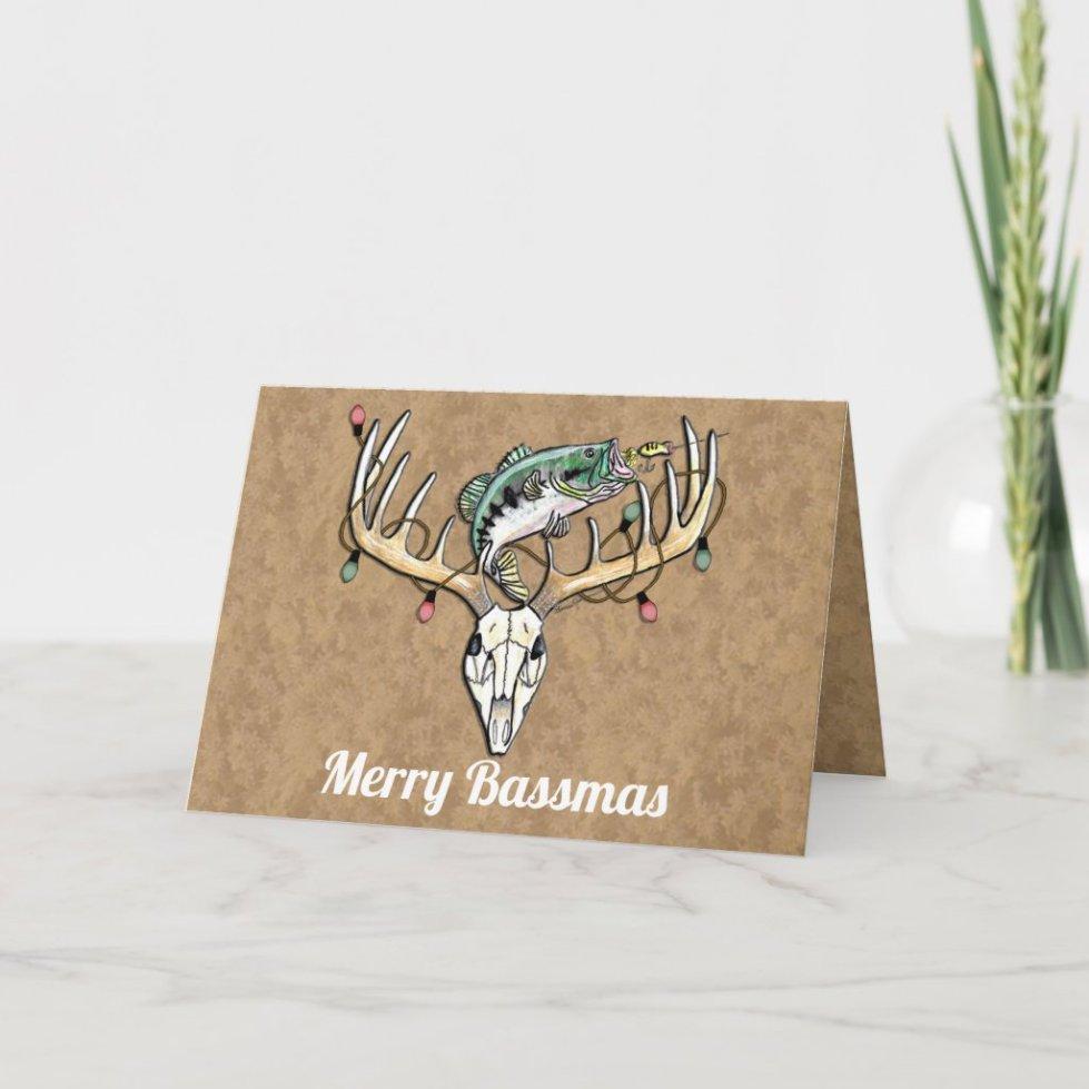 Funny Fishing and Hunting Christmas Greeting Card
