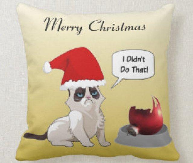 Funny Grumpy Christmas Kitten Square Throw Pillow