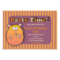 Funny Hamster Orange Purple Striped Invitations
