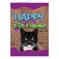 Funny Happy Birthday Graffiti from The Cat Card
