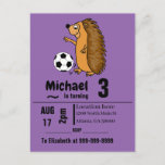 Funny Hedgehog Playing Soccer Birthday Party Invitation Postcard