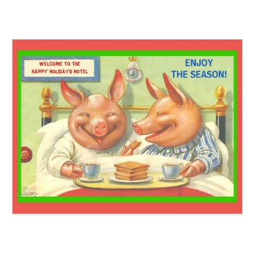 Funny Holiday Pigs Season's Greetings Vintage copy Postcard