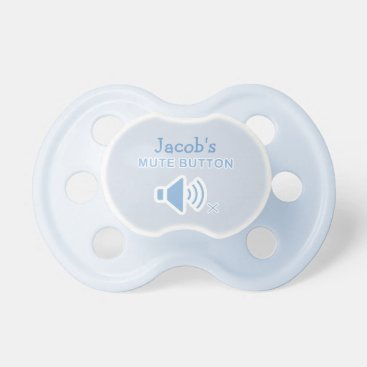 Funny Personalized Mute Button Blue Binky Pacifier