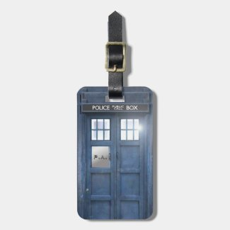 Funny Police Box travellers with monogram Travel Bag Tags