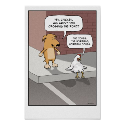 Funny poster: Dog and Chicken print