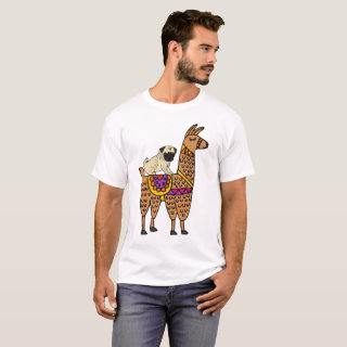 Funny Pug Dog Riding Llama Cartoon T-Shirt