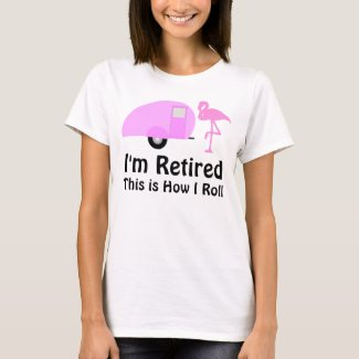 Funny Retirement Pink Flamingo Retro Camper T-Shirt