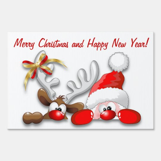 Funny Santa And Reindeer Cartoon Yard Sign