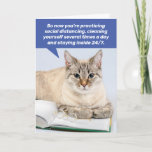 Funny Social Distancing House Cat- Coping Card