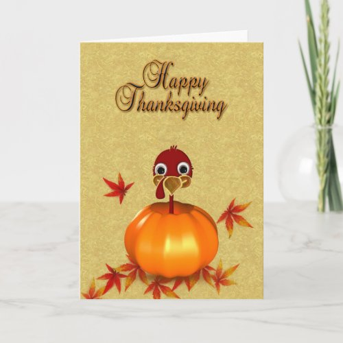 Funny Thanksgiving Turkey in Pumpkin Greeting Card