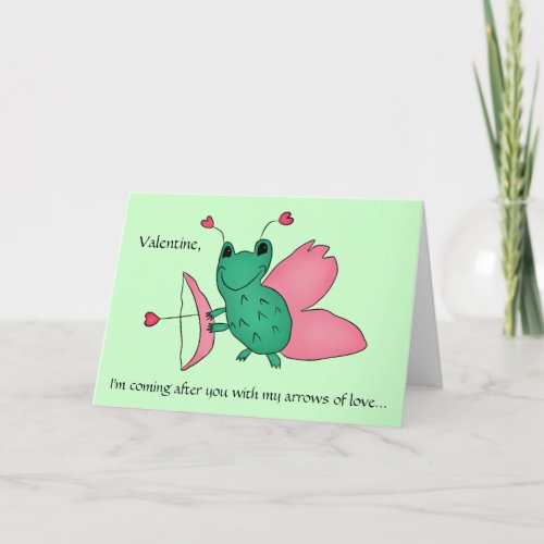 Funny Valentine cupid frog Holiday Card