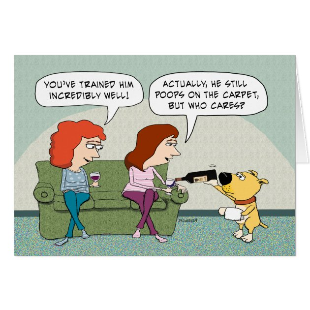Funny Well Trained Wine Serving Dog Birthday Card