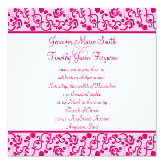 Hot Pink Fuchsia Bokeh Wedding Invitations