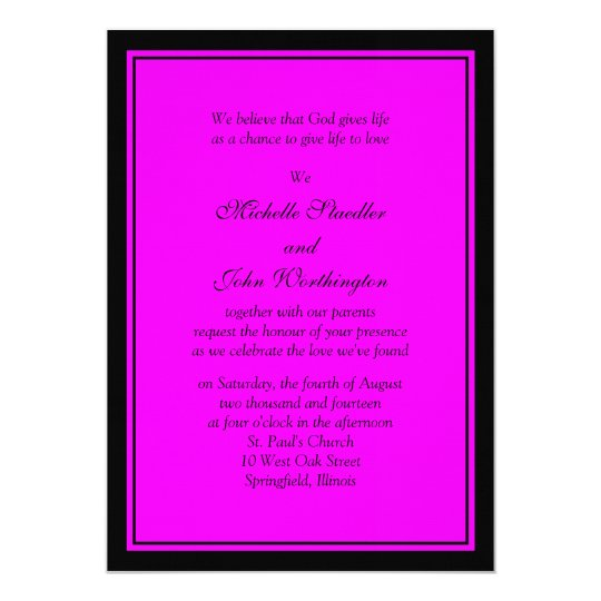 Fuschia Pink Black Wedding Invitation Template