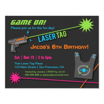 Game On Laser Tag Birthday Party Invitations