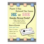 Gamer Player 3 Baby Shower Gender Reveal Invite