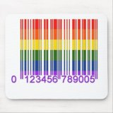 Gay Rainbow Barcode Mousepad