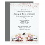 Gay wedding chic hat floral watercolor mens invitation