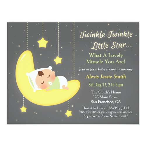 Gender Neutral Twinkle Little Star Baby Shower Card