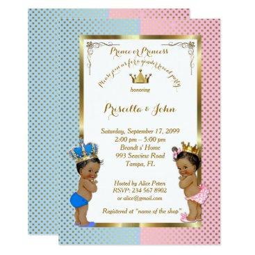 Gender Reveal Baby Shower, blue, pink, gold 2 Card