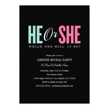 Gender Reveal - Black | Party Invite