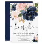 Gender reveal blush pink navy blue floral elegant invitation