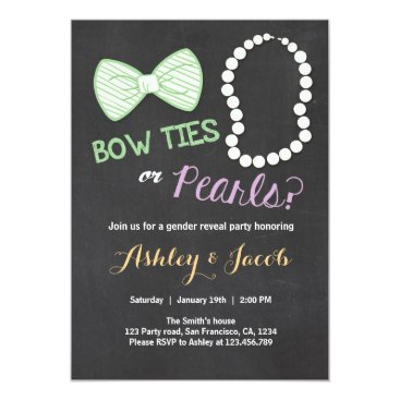 Gender reveal invitation Bow tie pearls Boy Girl