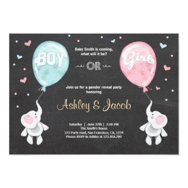 Gender reveal invitation Elephants Boy or Girl