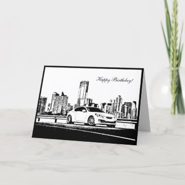 Genesis Coupe City shot - Car themed Birthday Card