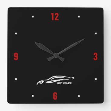 Genesis Coupe white brushstroke logo Square Wall Clock