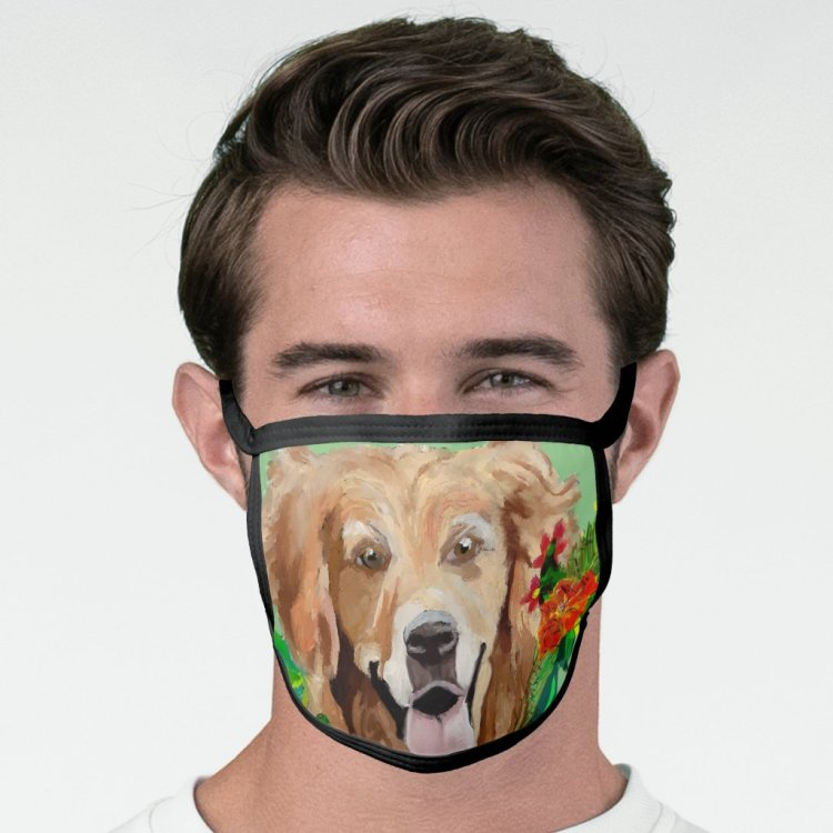 Gentle Golden Retriever Face Mask