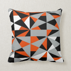 Geometric Bold Retro Funky Orange Black White Throw Pillows