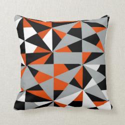 Geometric Bold Retro Funky Orange Black White Throw Pillows