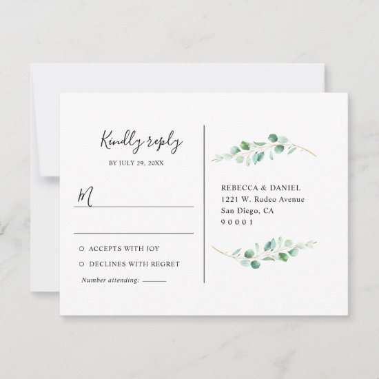 Geometric Eucalyptus Greenery Rsvp Postcard