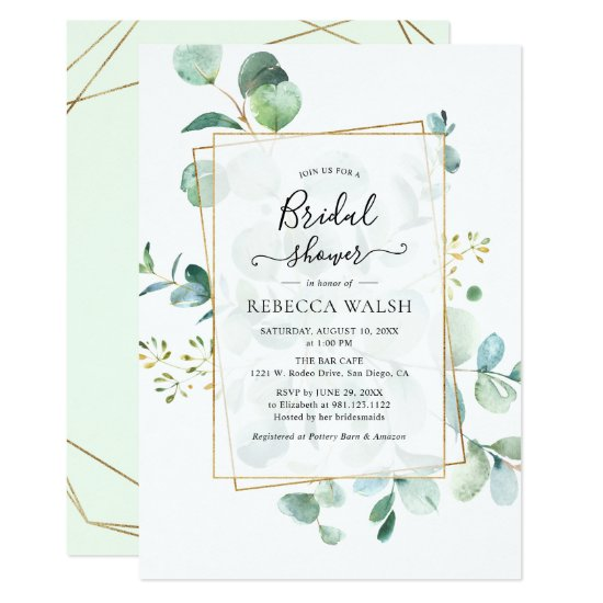 Geometric Greenery Eucalyptus Bridal Shower Invitation