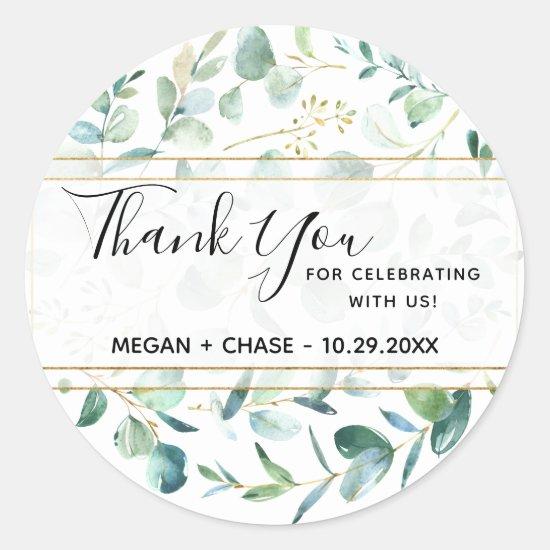 Geometric Greenery Personalized Thank You Wedding Classic Round Sticker