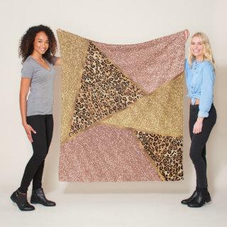 Geometric Rose Gold Blush Glitter Leopard Fleece Blanket