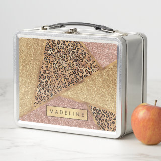 Geometric Rose Gold Blush Glitter Leopard Pattern Metal Lunch Box
