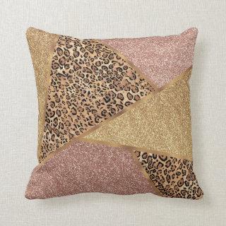 Geometric Rose Gold Blush Glitter Leopard Pattern Throw Pillow