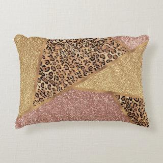Geometric Rose Gold Blush Glitter Leopard Print Accent Pillow