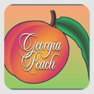 Georgia Peach Square Sticker