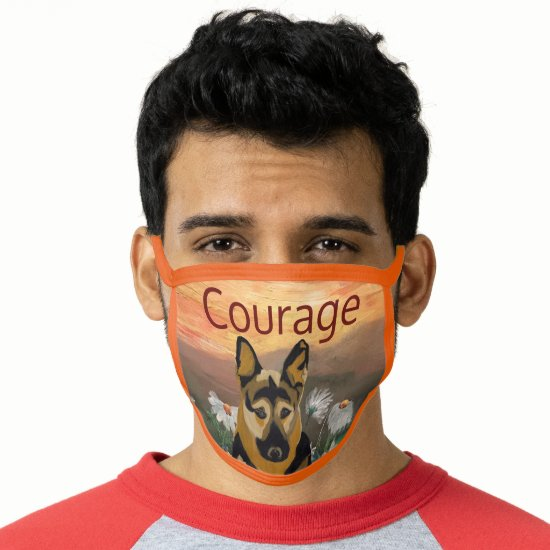 German Shepherd and Daisy Field Courage Face Mask
