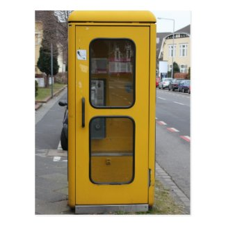 German Yellow Telefonzelle Postcard