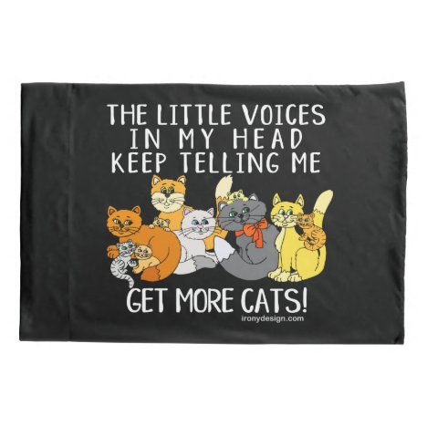 Get More Cats Funny Saying Black Pillow Case