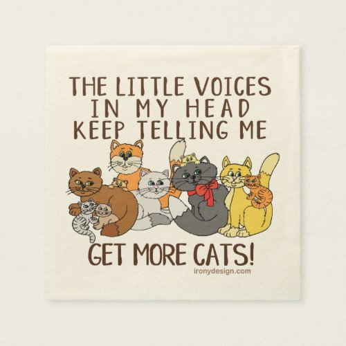 Get More Cats Funny Saying Napkins